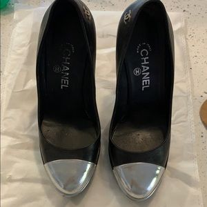 Chanel Heels with Silver Cap Toe